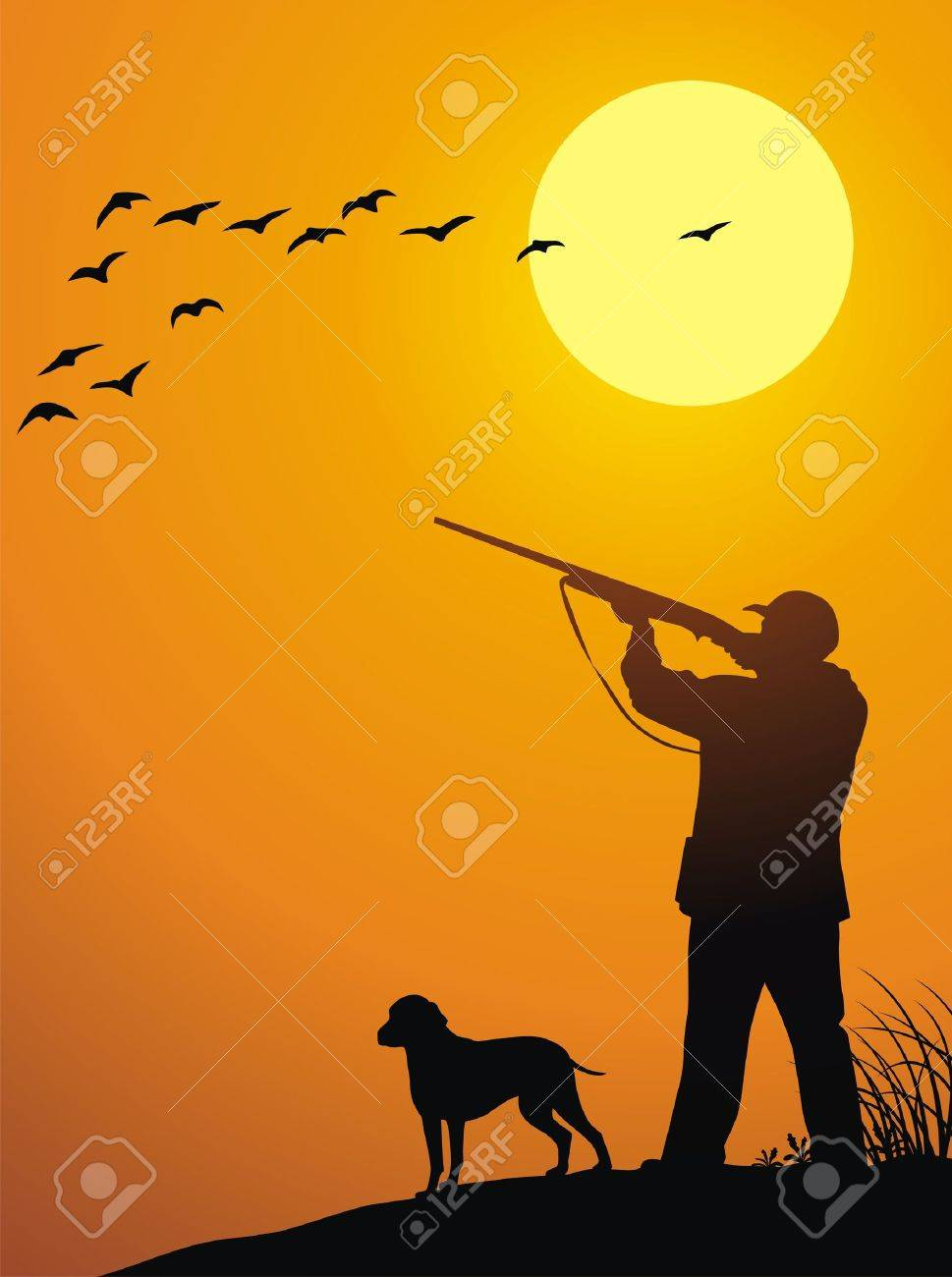 The man together with a dog hunts on a weft on a sunset Stock Vector - 13168476