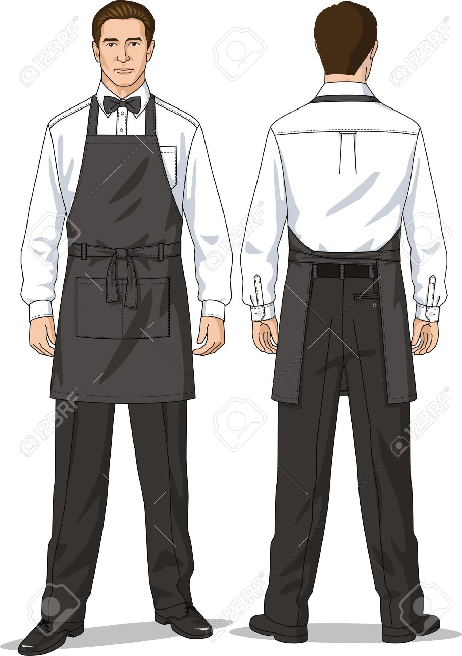 The suit for the waiter consists of a shirt, trousers and an apron Stock Vector - 14560846