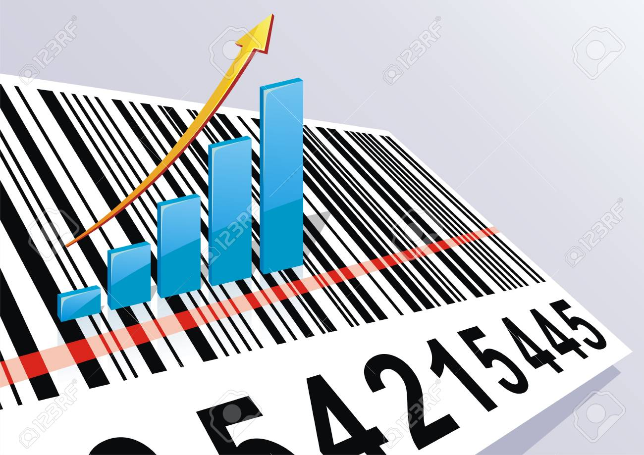 The schedule of growth of the income costs on a bar code Stock Vector - 14596012