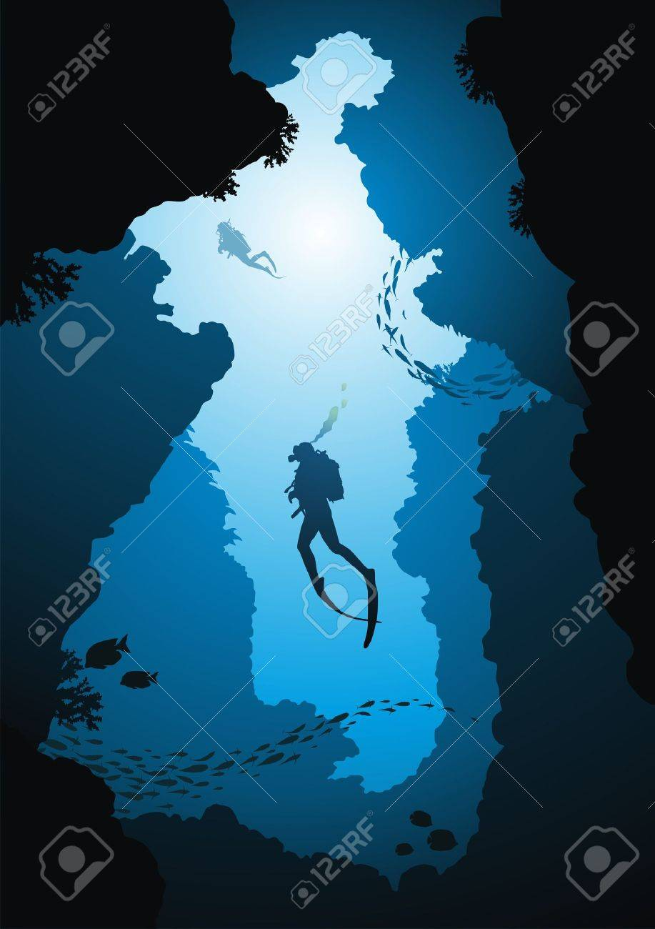 Divers rise from a crevice against the sun Stock Vector - 14952254