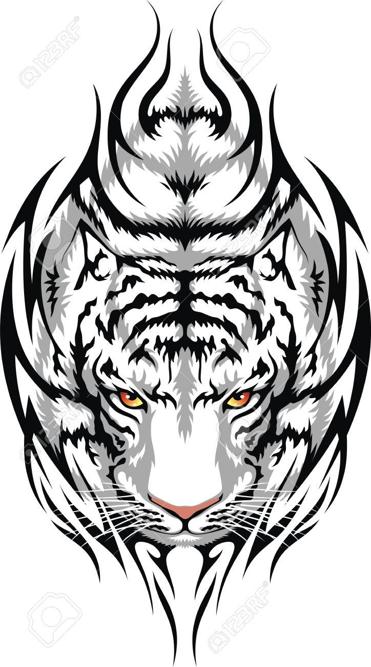 La Tete D Un Tigre Blanc Est Stylisee Sous La Forme D Un Tatouage