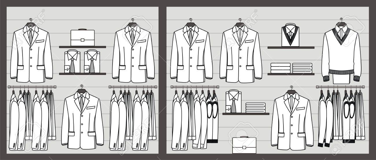 Clothing store show-window for business men Stock Vector - 19319209
