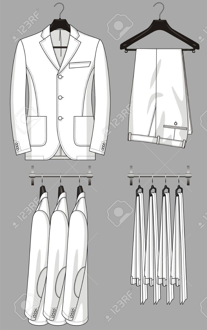 The jacket and trousers for the man hang on a hanger Stock Vector - 19733847