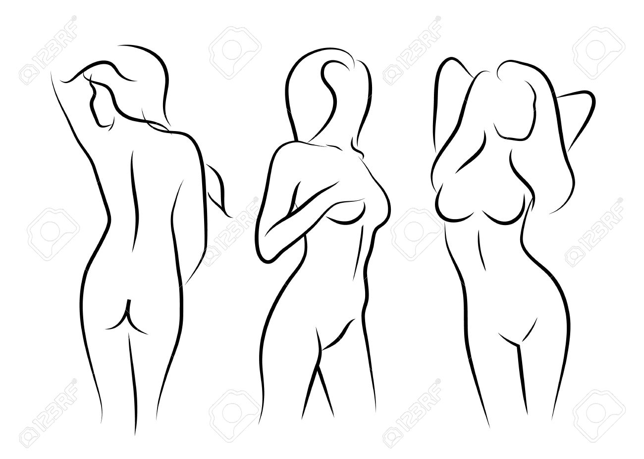 Illustrations Vector Women Naked Art Beauty Body Drawing Stock