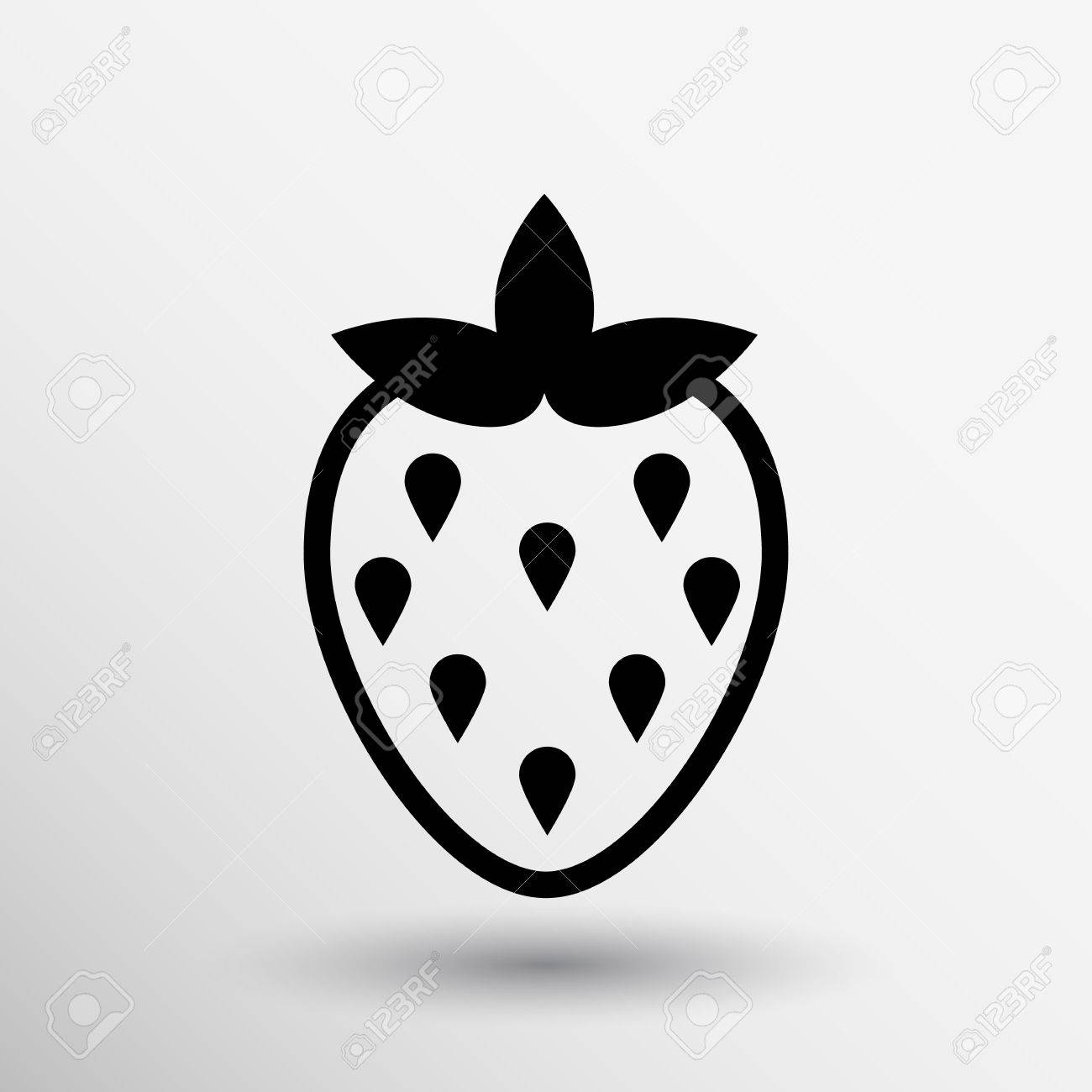 ベクトル イチゴ ロゴ食品の白黒イラストですのイラスト素材ベクタ