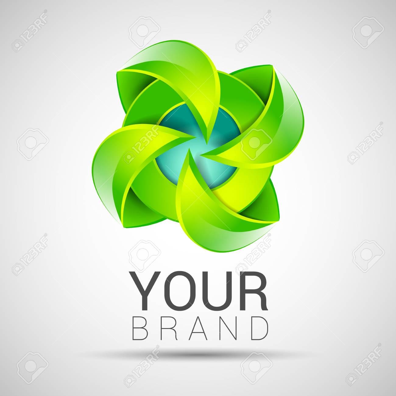 Eco Green Leaf Logo Template Infinite Shape Green Leaves Loop ...