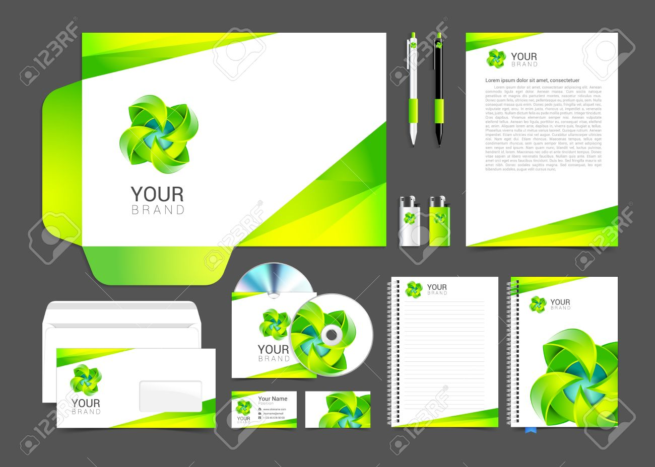 White corporate identity template design green turquoise business vector white corporate identity template design green turquoise business stationery cheaphphosting Gallery