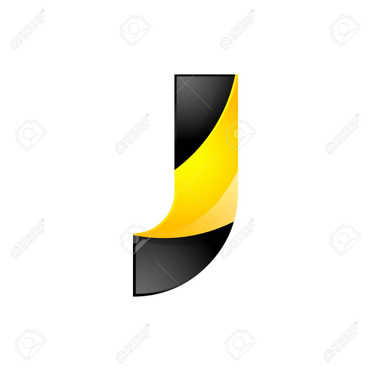 Creative Yellow And Black Symbol Letter J For Your Application Or Company Design Alphabet Graphics 3d