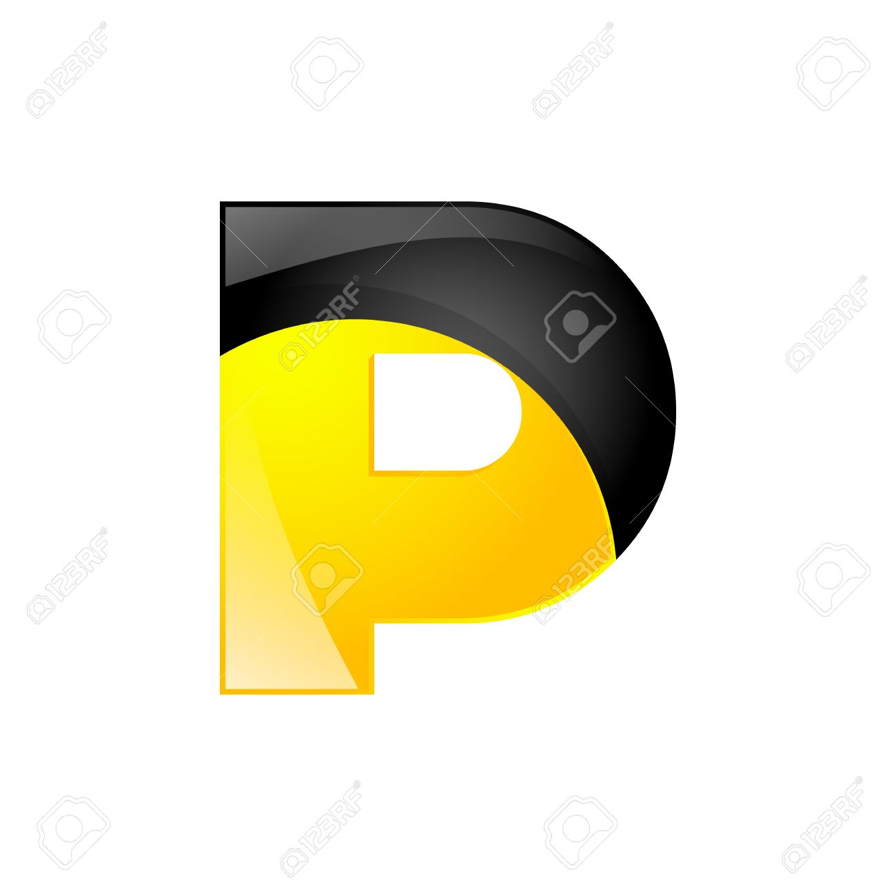 Creative Yellow And Black Symbol Letter P For Your Application Or Company Design Alphabet Graphics 3d