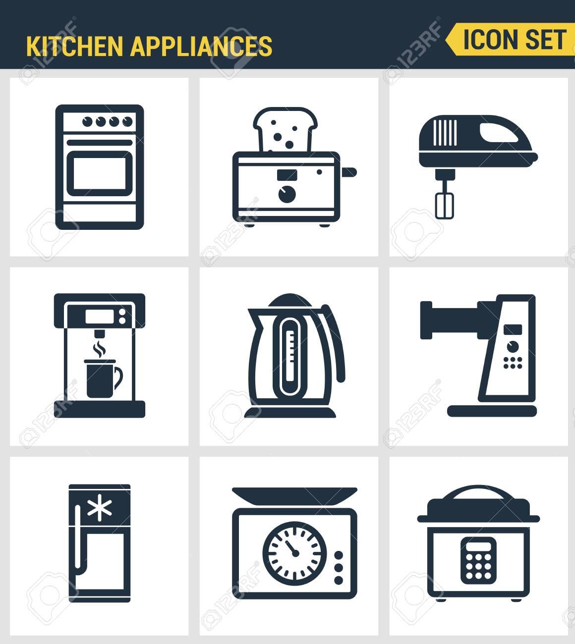 Icons Set Premium-Qualität Von Küchenutensilien, Haushalts Werkzeuge ...