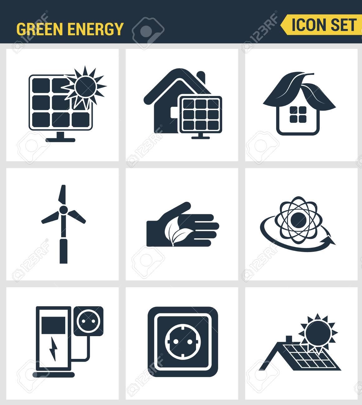 Conjunto De Iconos De Alta Calidad De La Energía Verde Respetuoso ...