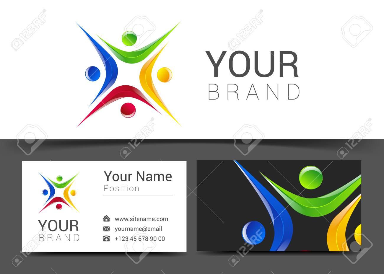 Carte De Visite Pour Votre Entreprise Avec Le Logo Des Personnes Sur