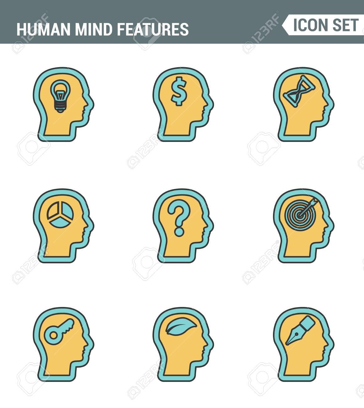 Icons Säumen Premium-Qualität Des Menschlichen Geistes Merkmalen ...