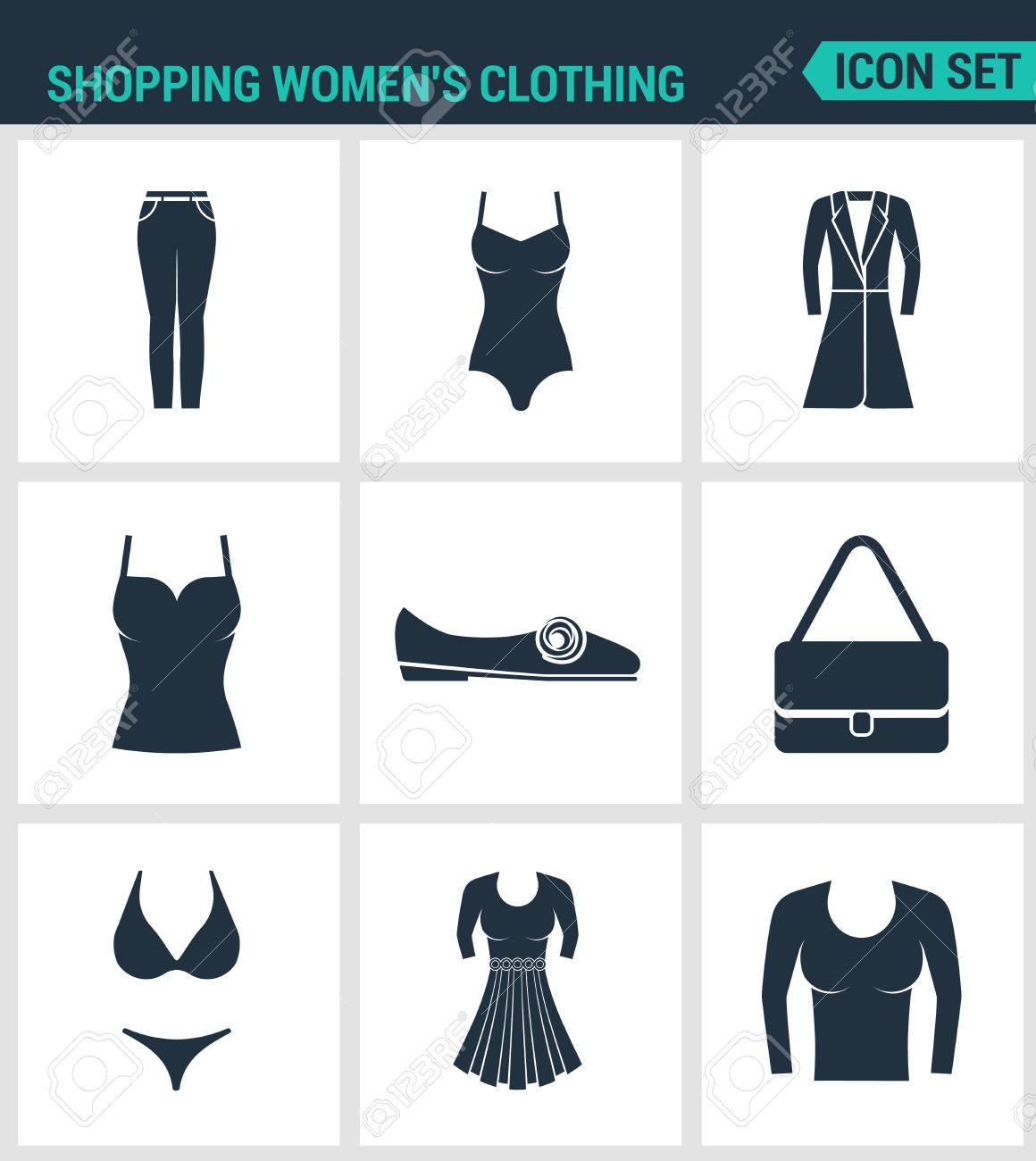88f0d93d4ac Conjunto De Iconos Vectoriales Modernos. Mujeres De Las Compras S  Pantalones De Vestir