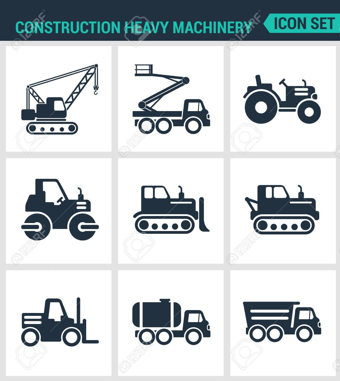 Set Of Modern Vector Icons Construction Heavy Machinery Tractor