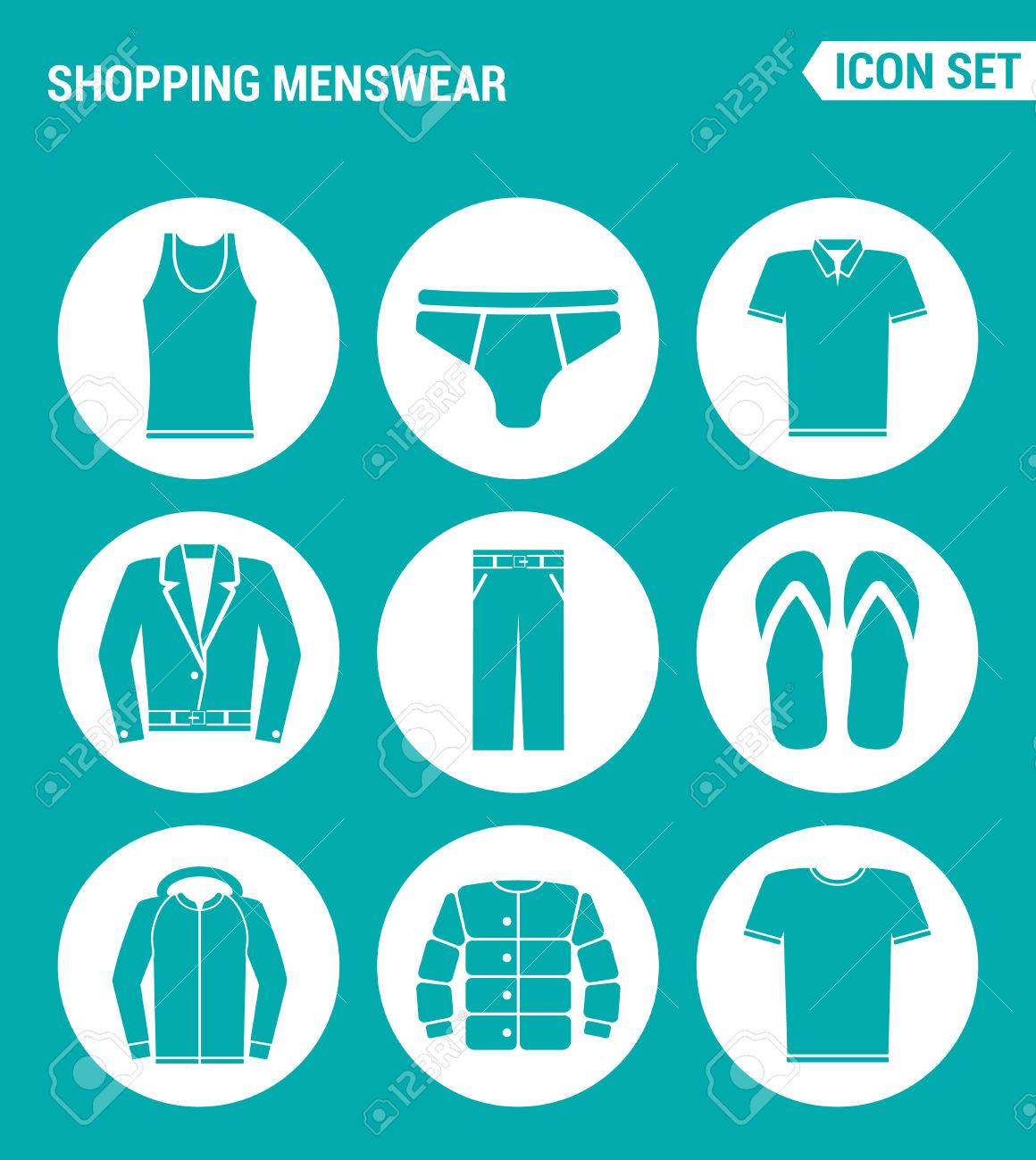 Shirt design vector pack - Vector Vector Set Web Icons Shopping Menswear T Shirt Skirts Pants Sneakers Leather Jacket Shirt Design Of Signs Symbols On A Turquoise Background
