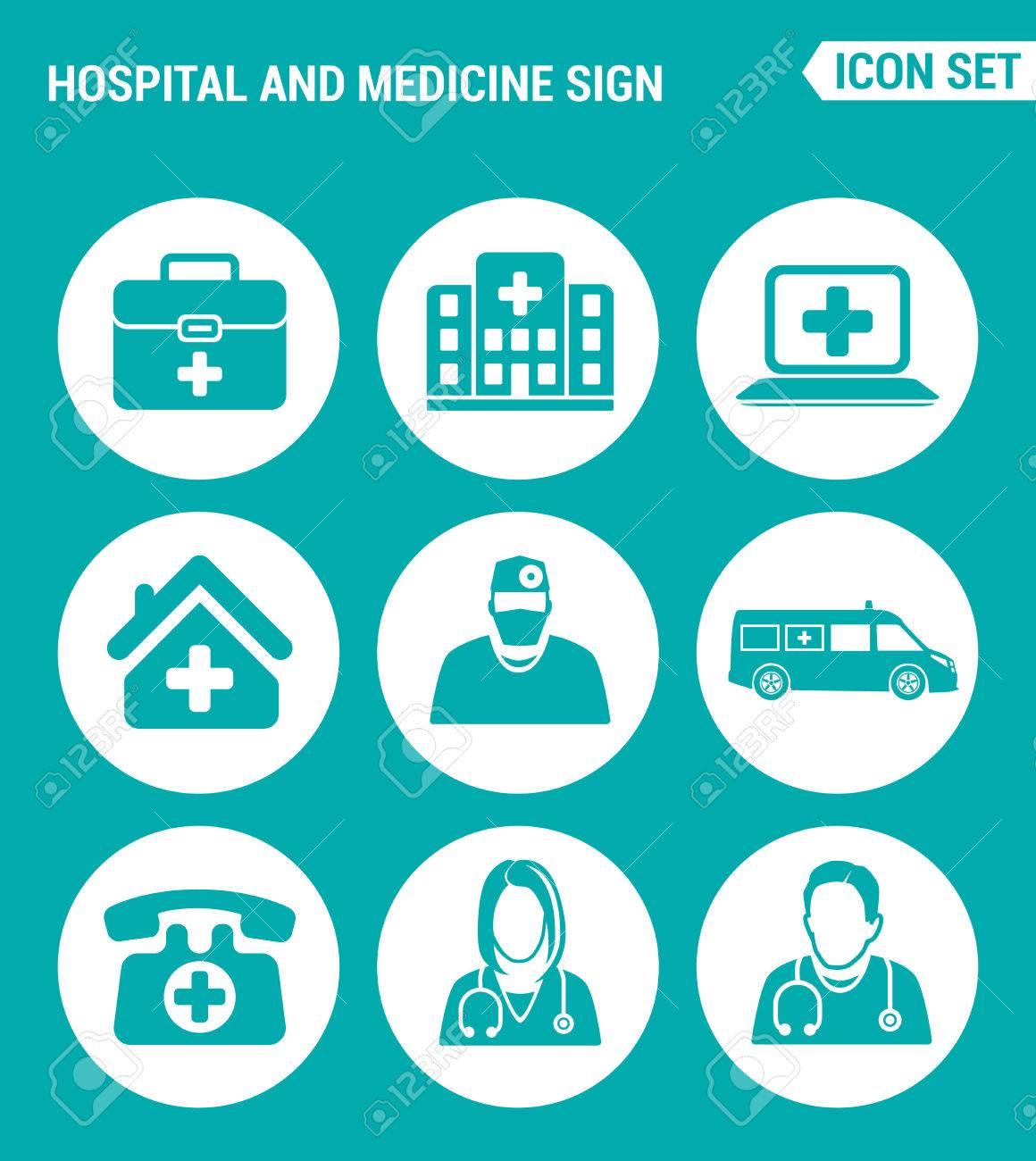 Conjunto de vectores iconos de la web  Hospital, rescate, paramédico,  personas, ambulancias, médico, emergencia  Diseño de los signos, símbolos  sobre
