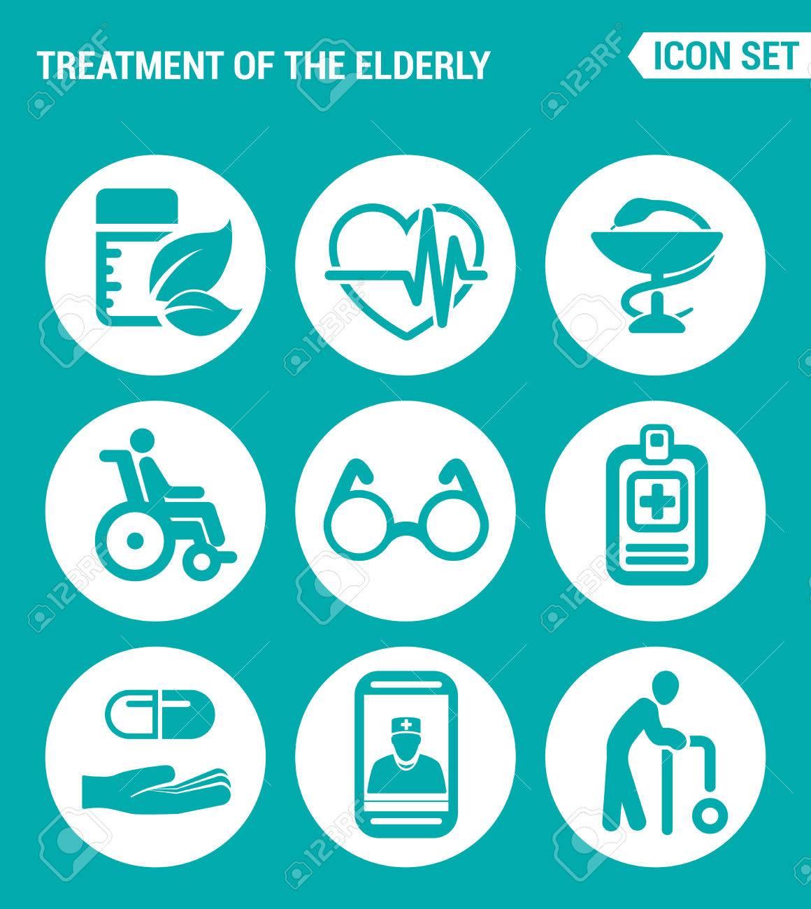 Vector set web icons  Treatment the elderly medicine, heart palpitations,