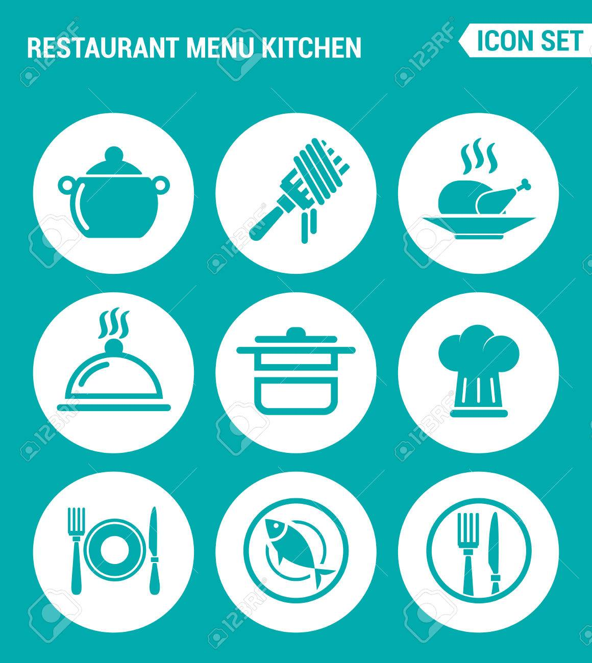 Vektor-Set Web-Icons. Restaurant Menü-Küche, Gabel, Huhn, Schüssel ...