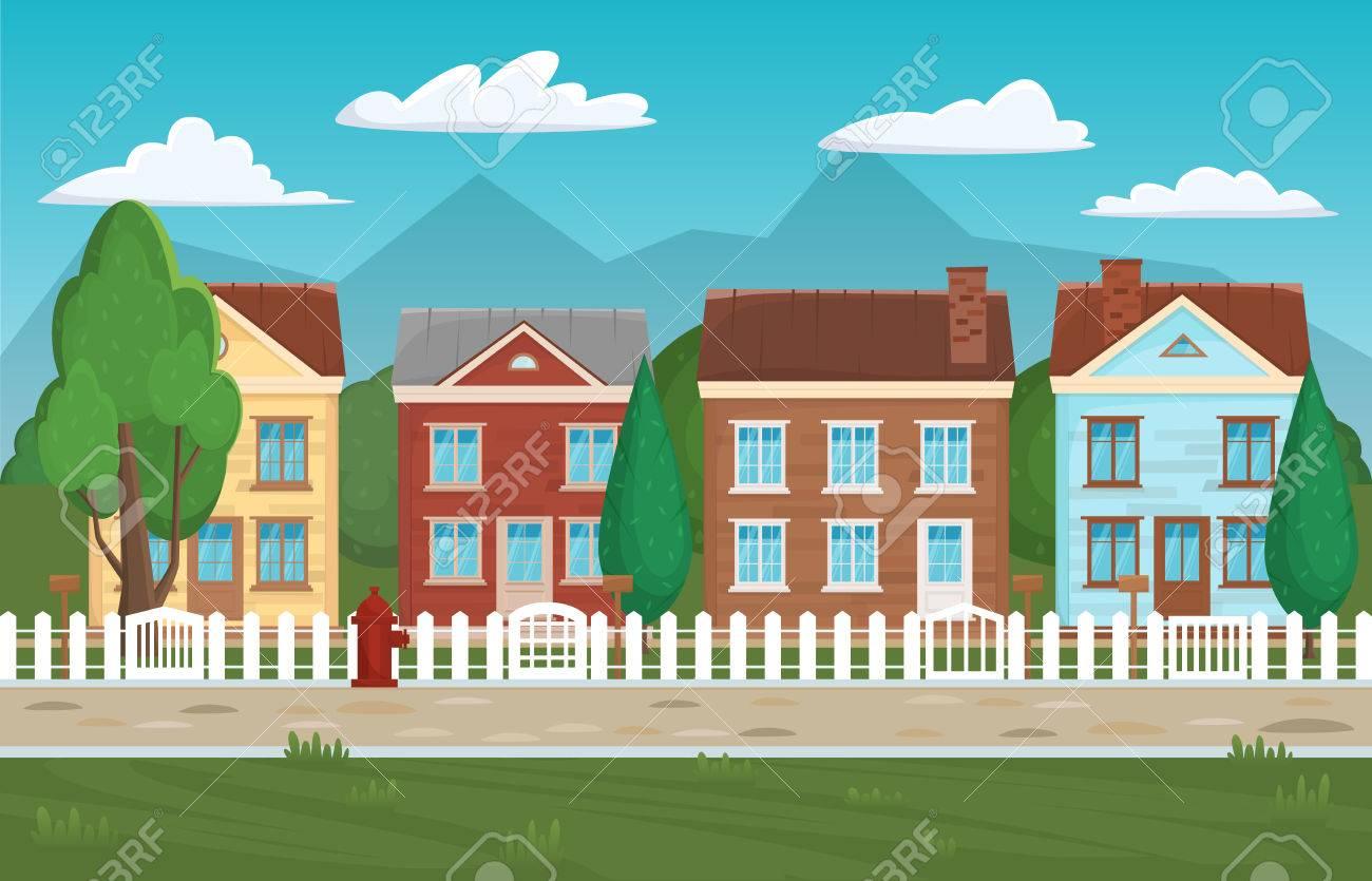 Haus Gebäude Straße, Zu Hause Hintergrund. Häuser Und Gebäude ...