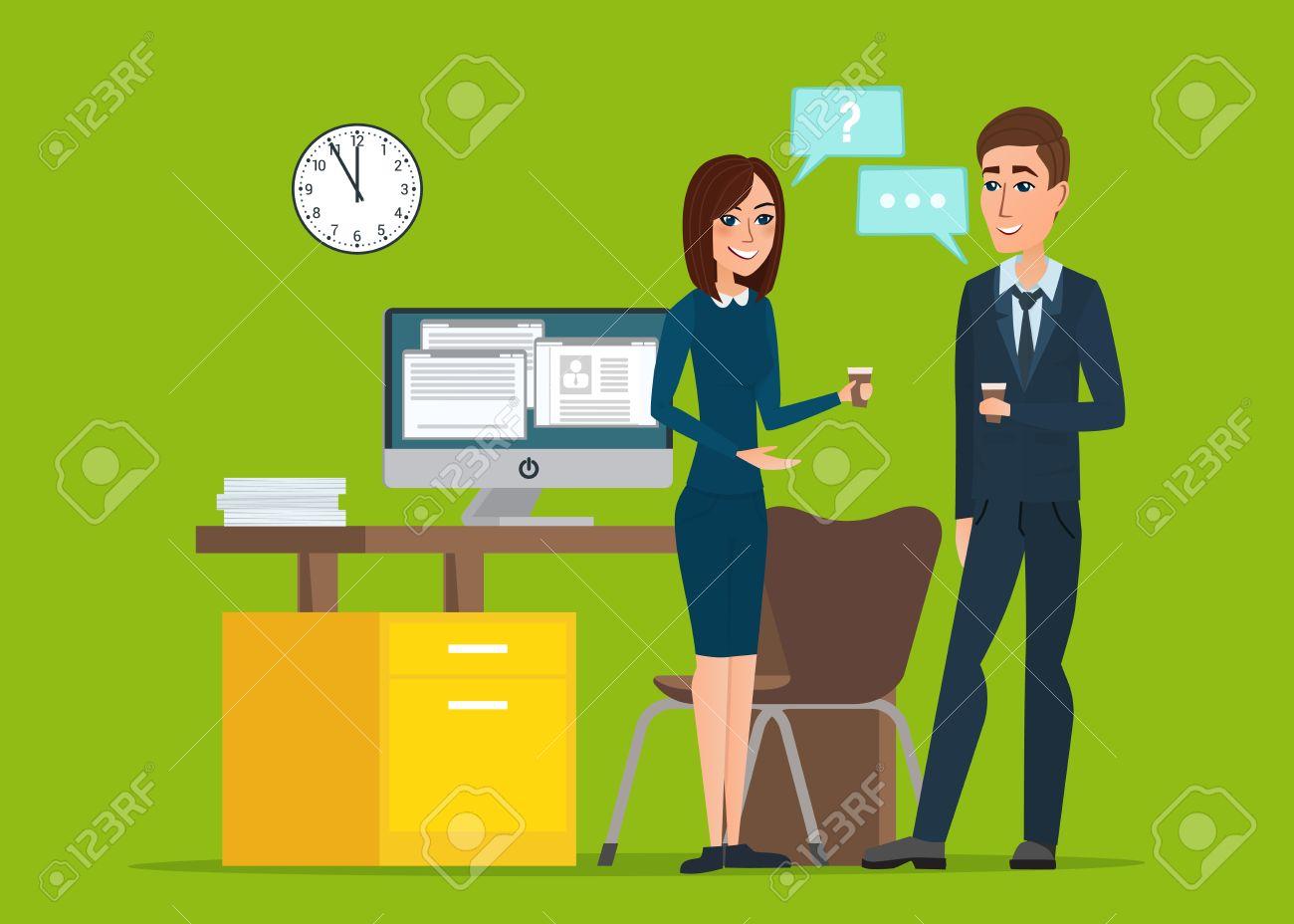 f44006ed5b22 Girl and man businessmen talking office. Job Interview Task Conversation  Desk Working Computer. Business