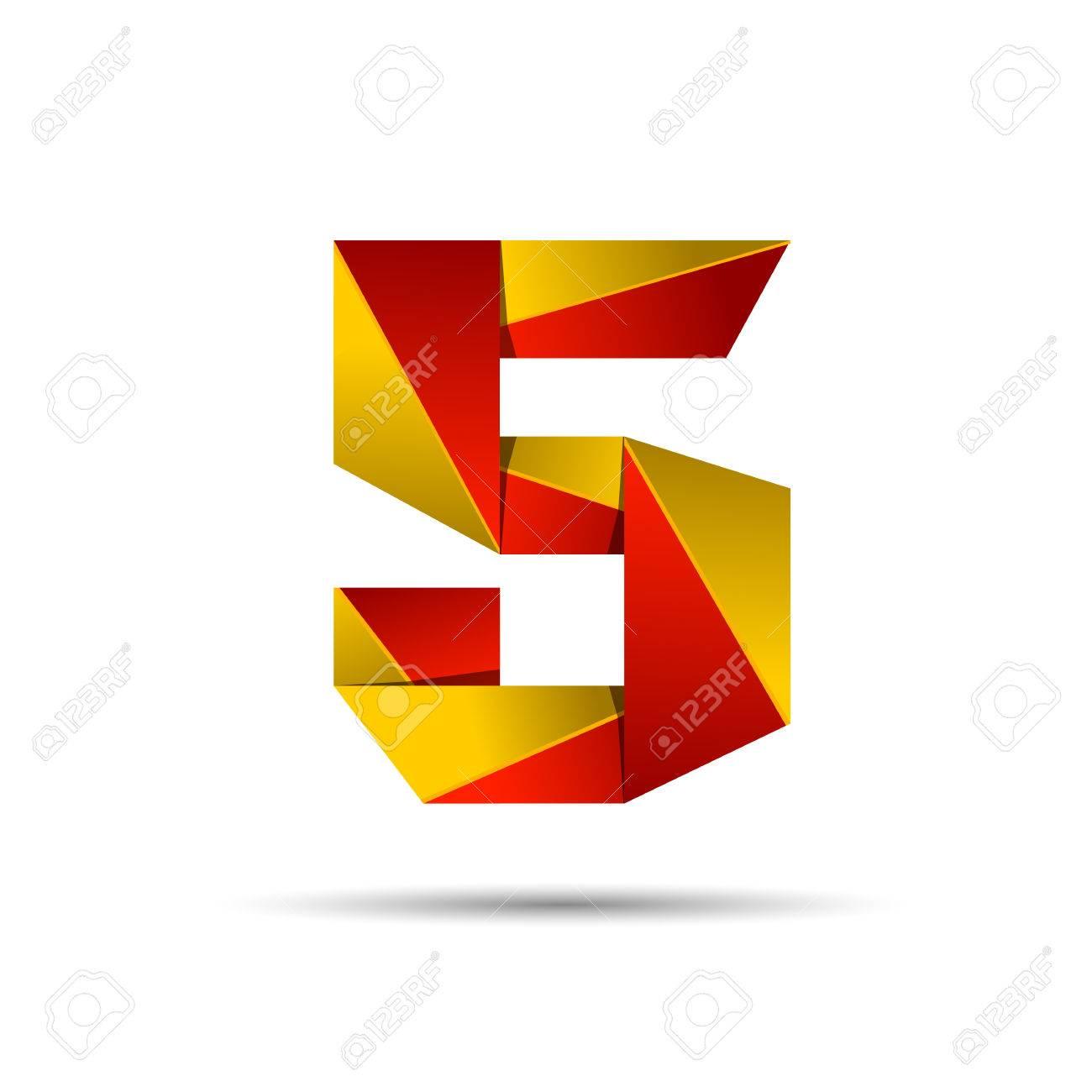 Nummer 5 5 Icon Design Vorlage Elemente 3D-Logo. Rot Und Gold ...