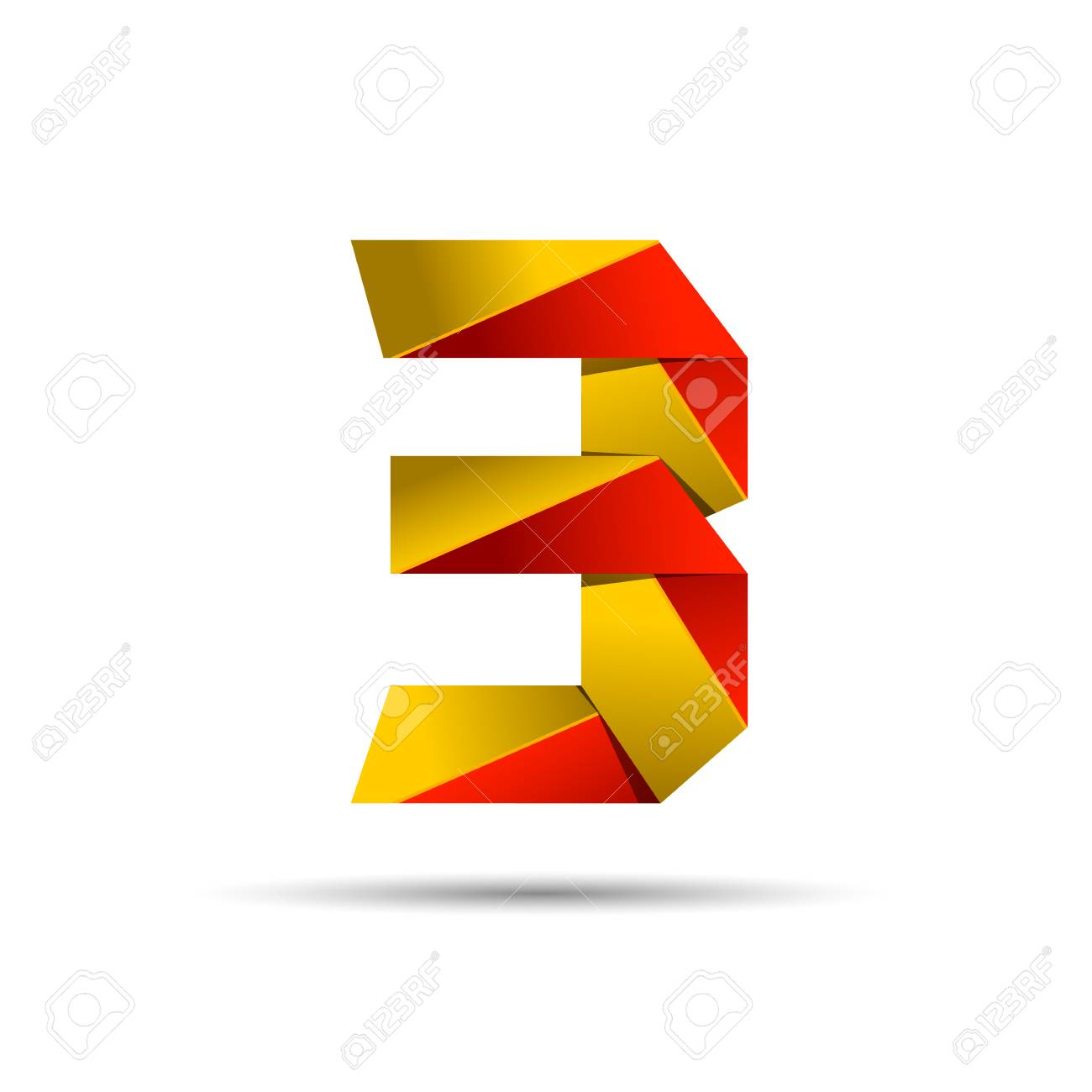 Number three 3 icon design template elements 3d logo red and number three 3 icon design template elements 3d logo red and gold glossy style maxwellsz