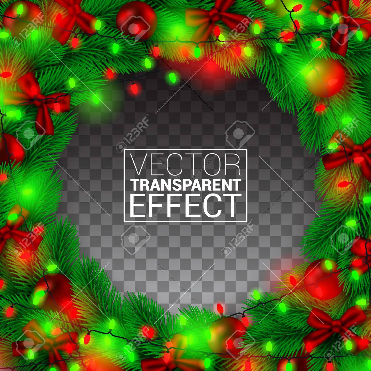 Realistic Christmas Border, Isolated on transparency Background