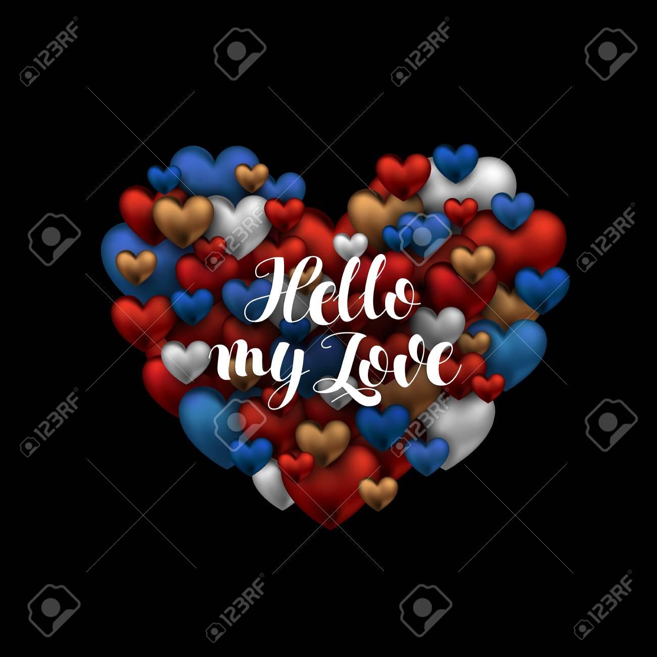 Olá Meu Amor Frase Para Cartão Com Coração Frase Para O Dia Dos Namorados Caligrafia De Escova Moderna Elemento De Design De Decoração De Férias
