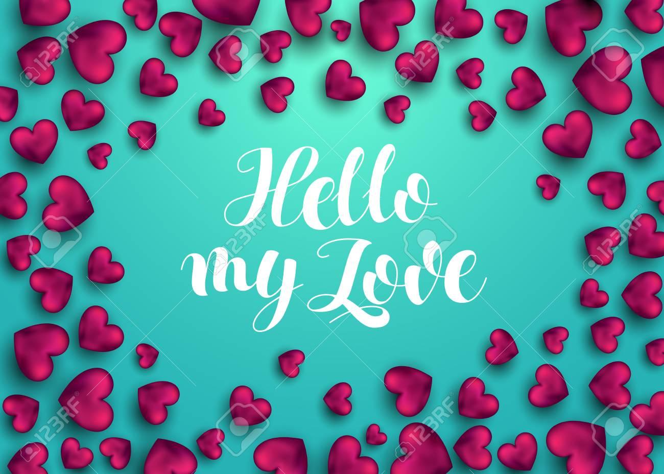Hola Hola Frase De Amor Para La Tarjeta Con El Corazon Rosa Tarjeta