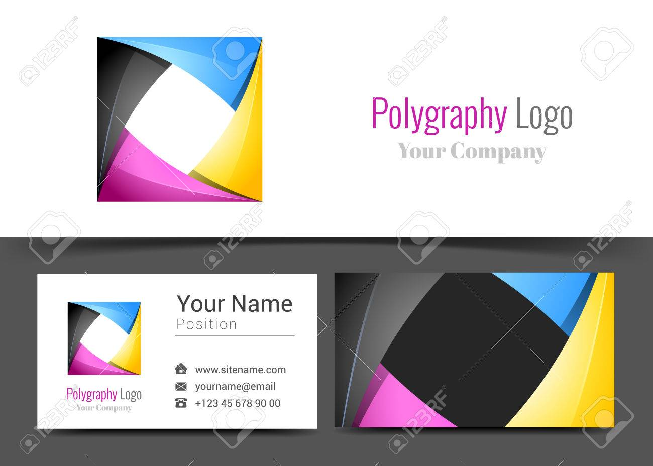 Abstract cmyk printing services media center corporate logo and abstract cmyk printing services media center corporate logo and business card sign template creative design colourmoves