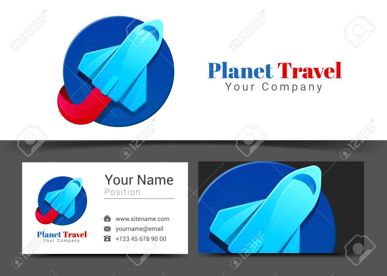 Logo Dentreprise De Tourisme Bleu Avion Et Modele