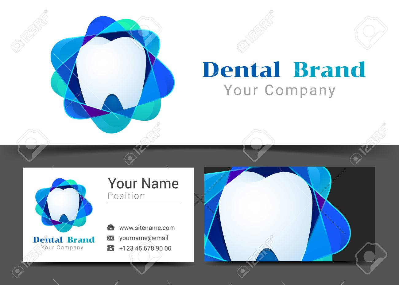 Dental tooth corporate logo and business card sign template dental tooth corporate logo and business card sign template creative design with colorful logotype visual magicingreecefo Images