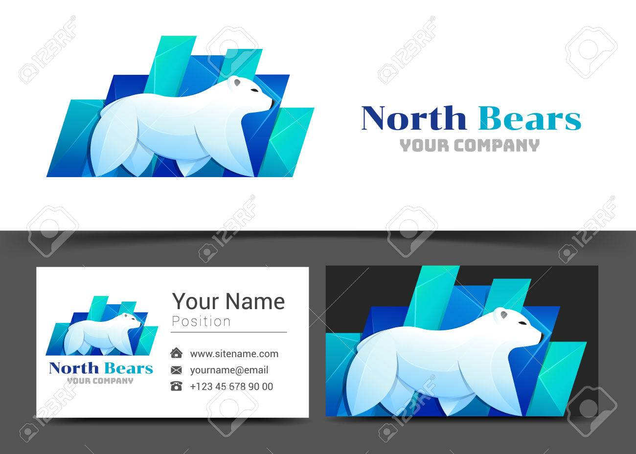 Polar bear arctic corporate logo and business card sign template polar bear arctic corporate logo and business card sign template creative design with colorful logotype magicingreecefo Images