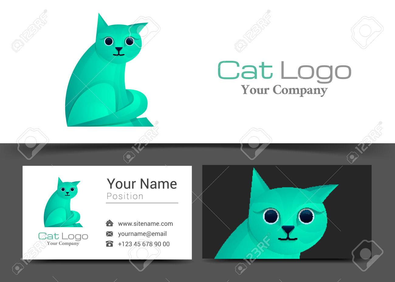 Cat corporate logo and business card sign template creative cat corporate logo and business card sign template creative design with colorful logotype visual identity magicingreecefo Images