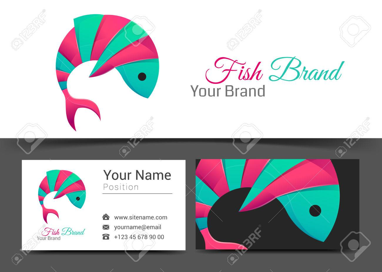 Fish corporate and business card sign template creative design fish corporate and business card sign template creative design with colorful business visual identity composition colourmoves