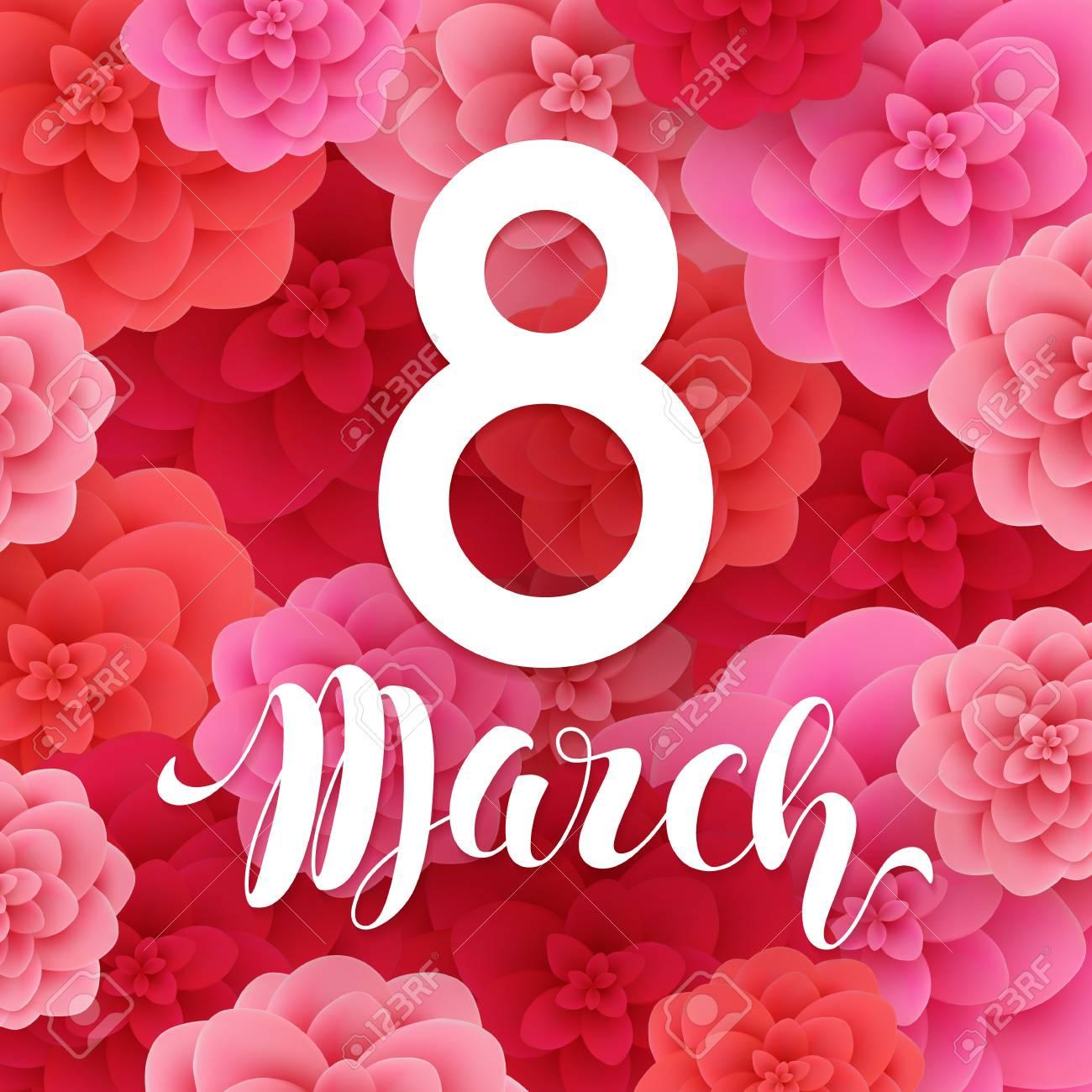 Carte Bonne Fete De La Femme.8 Mars Bonne Fete Des Meres Joyeuse Journee De La Femme Papier Rose Coupe Carte De Voeux Florale Modele De Conception Dernier Cri Fond De