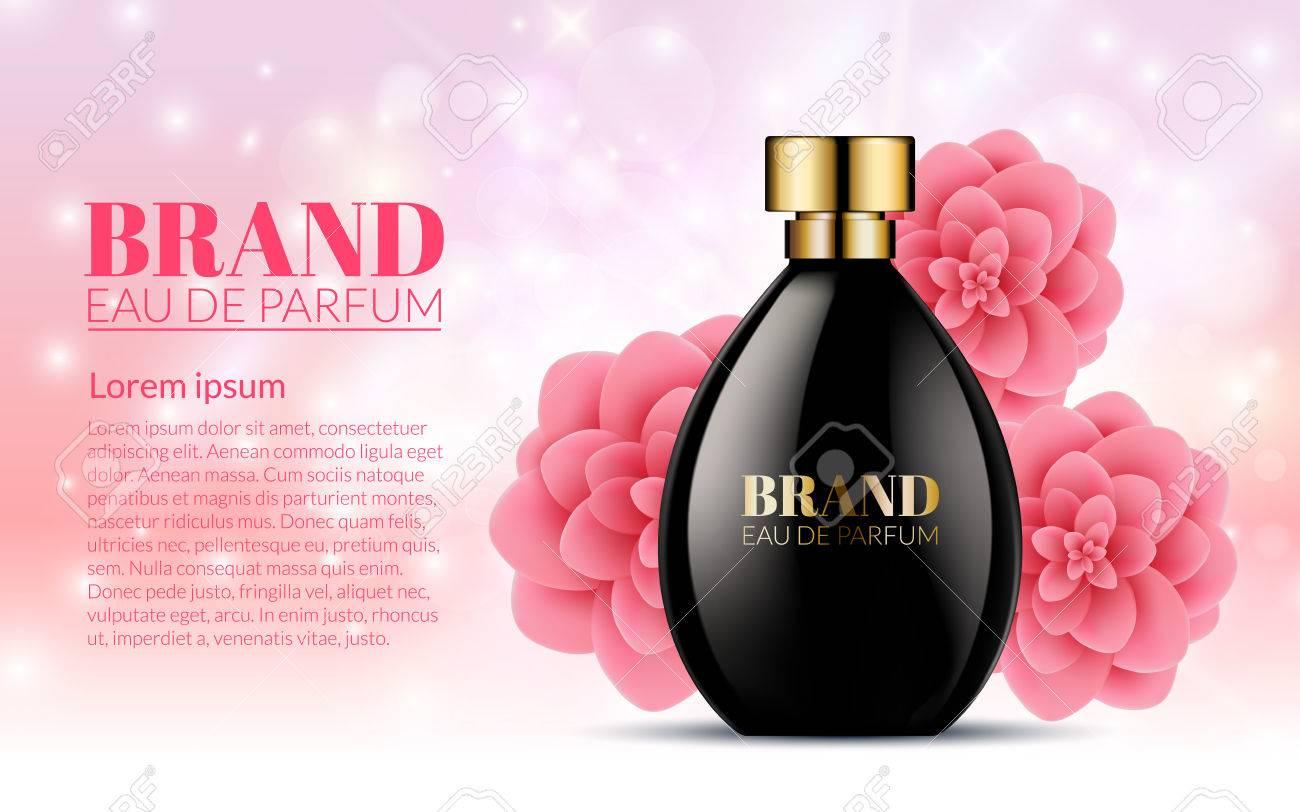 Assez Belle Bouteille Noire Womens Parfum Produits Avec Des Fleurs De  DV98