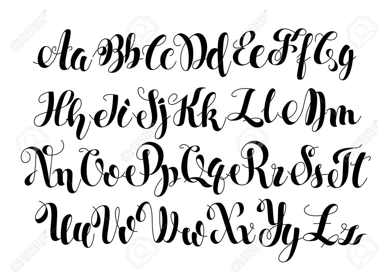 Handwritten Calligraphy Symbols Black And White Lettering ABC Letters Modern Brushed Painted English