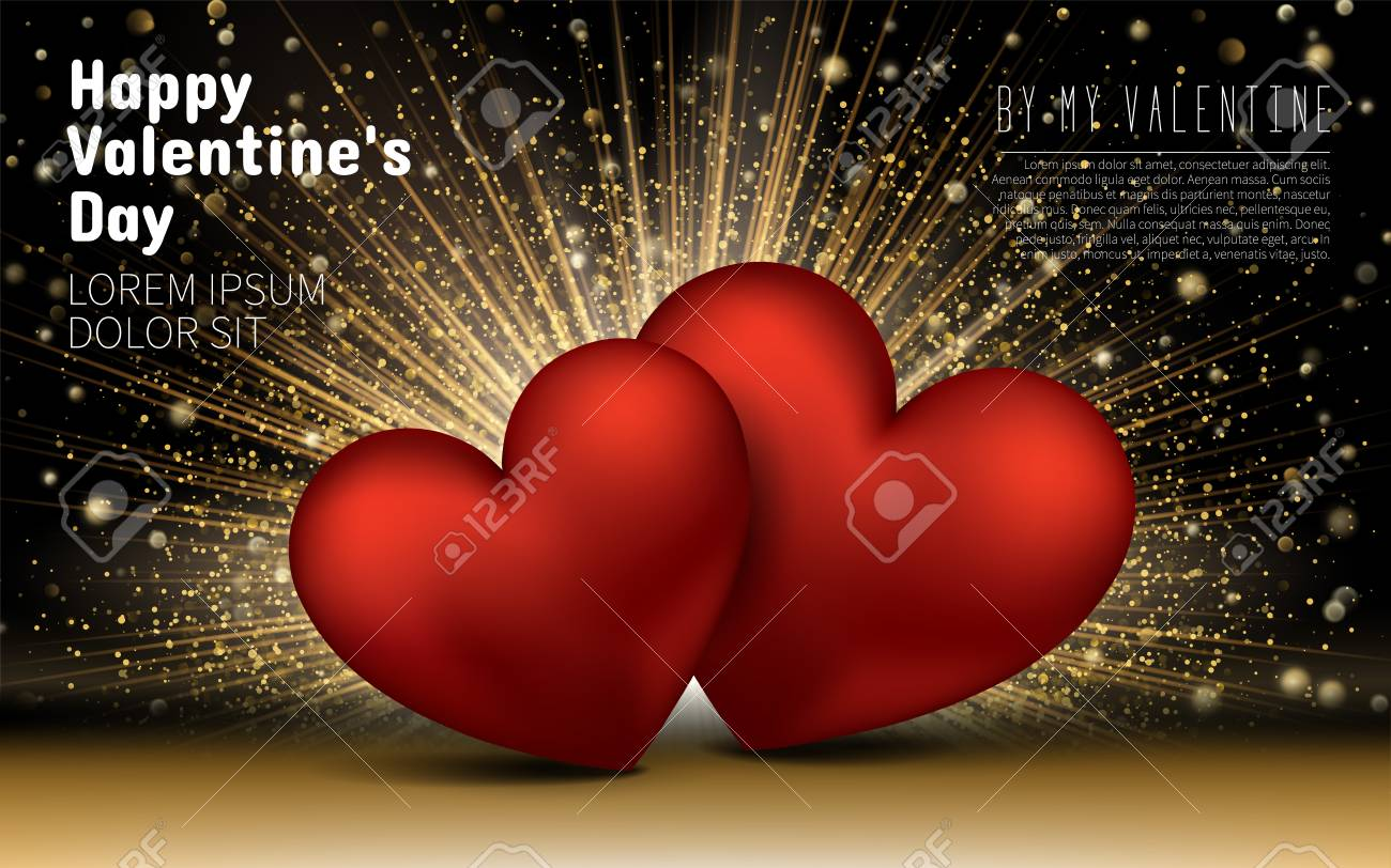4d5b8f4cfae9 Happy Valentines Day. Golden Luxury Elegant Hearts Love Glitter Background.  Layout Template Design Card