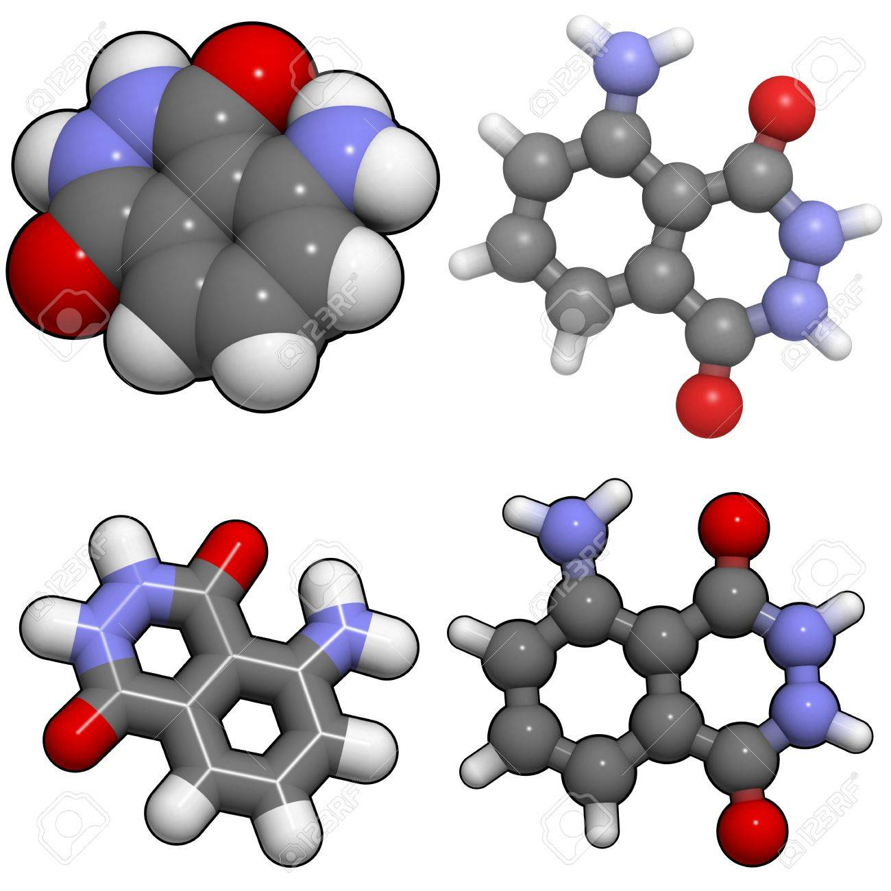 Una molécula de luminol, una sustancia química que se utiliza para detectar la sangre por los investigadores de la escena del crimen. Foto de archivo - 13373400
