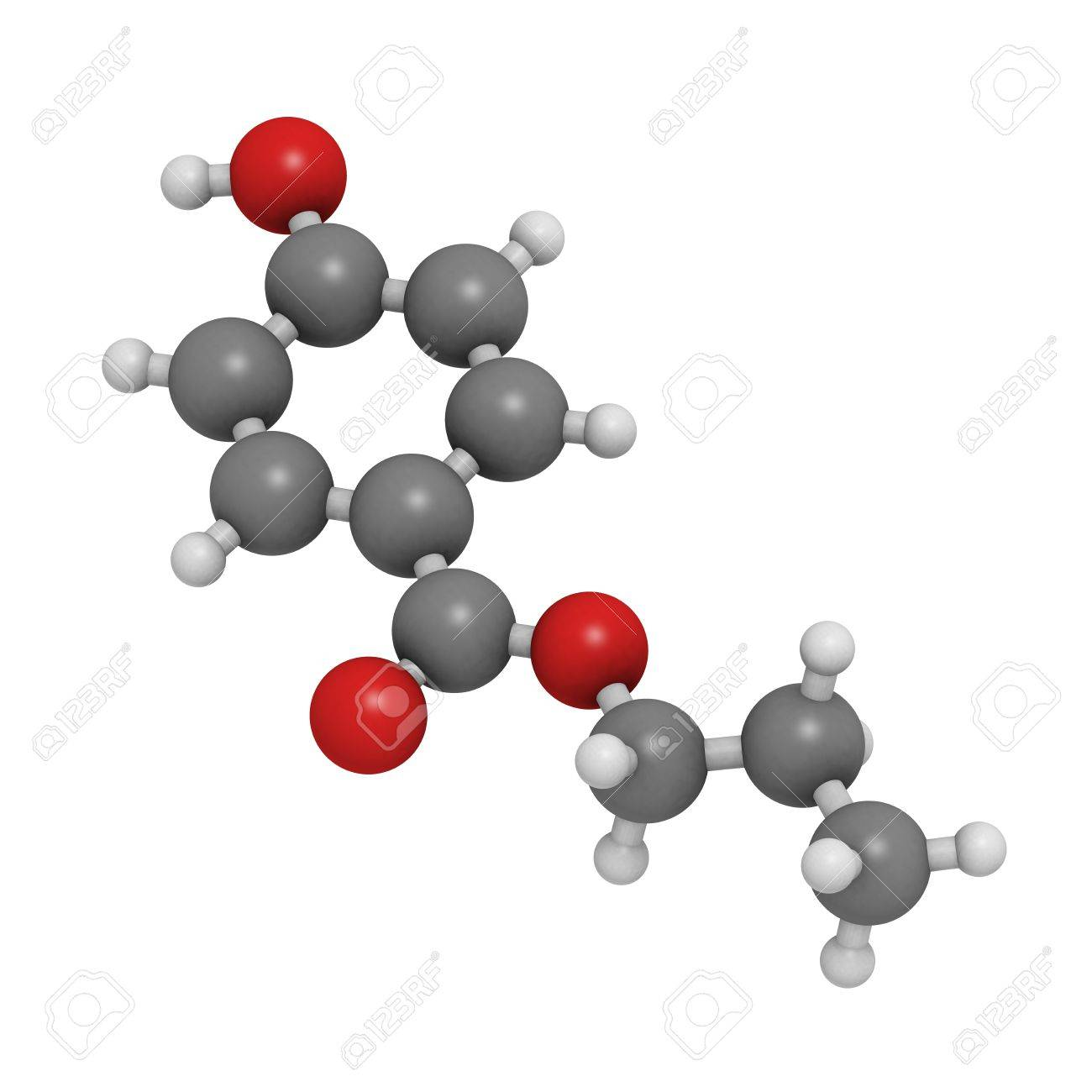 Chemical Structure Of A Molecule Of Propylparaben (E216), A Rather ...