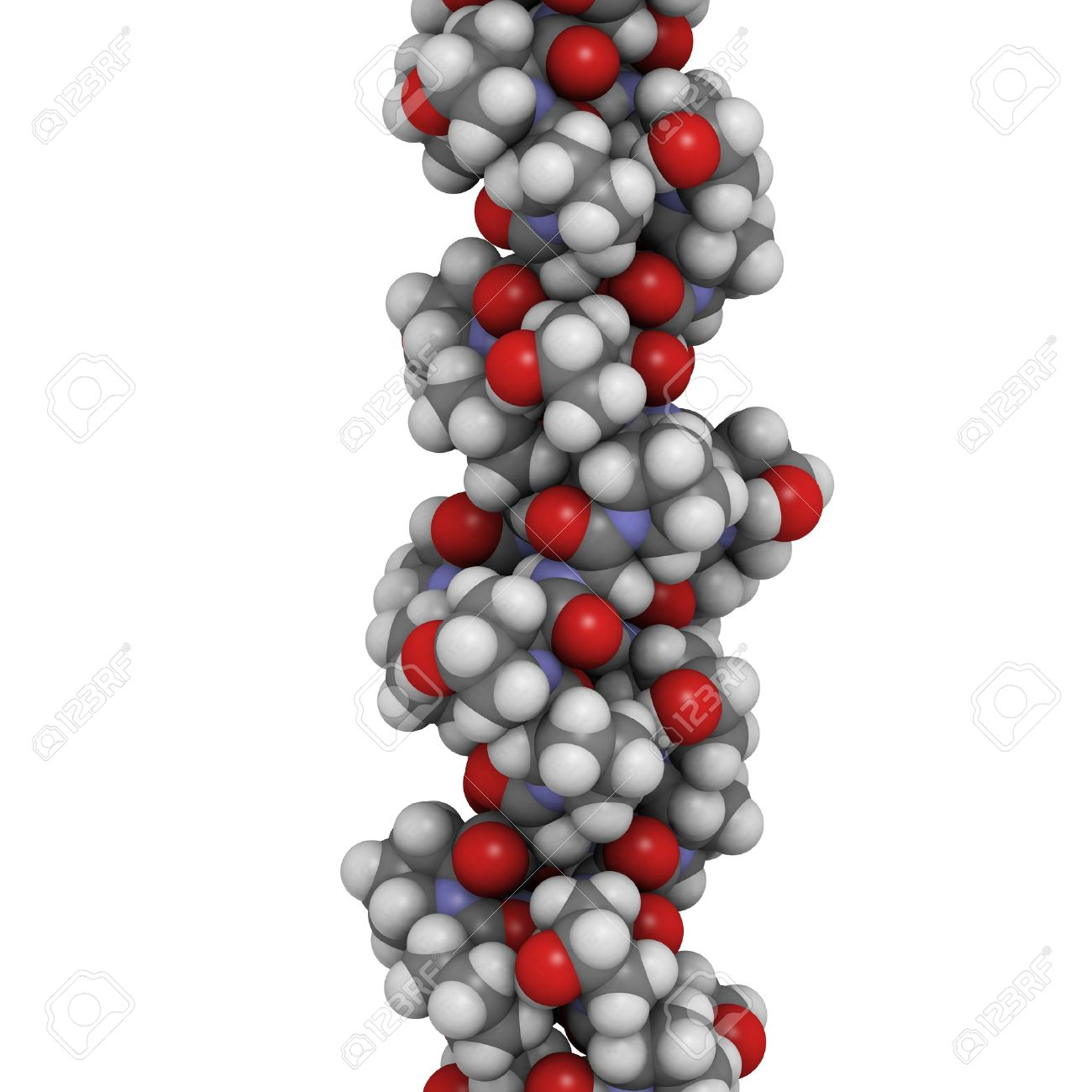 Chemical structure of a collagen model protein. Collagen adopts a characteristic triple helix structure. Collagen is a major component of many tissues, including skin, bone and cartilage. Collagen is used dermal filler in the treatment of wrinkles and skin ageing. Stock Photo - 16083443