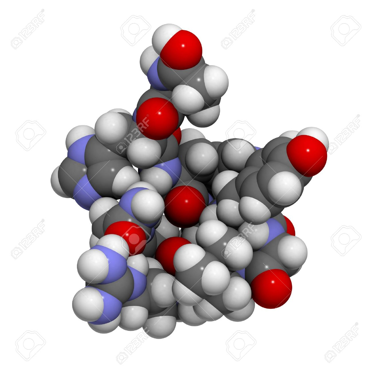 Chemical structure of a molecule of gonadotropin-releasing hormone (GnRH, Luteinizing-hormone-releasing hormone, LHRH, luliberin). GnRH is a peptide hormone that causes release of follicle-stimulating hormone (FSH) and luteinizing hormone (LH) from the an Stock Photo - 16647721