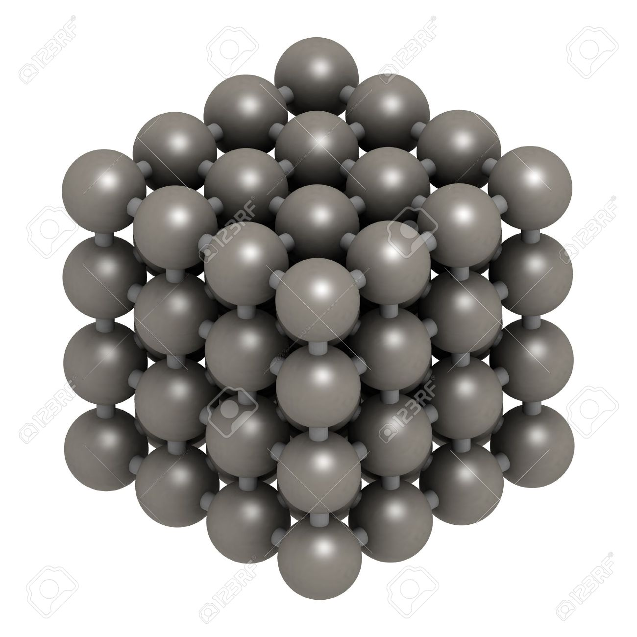 Iron (Fe, ferrite) metal, crystal structure. Stock Photo - 17236626