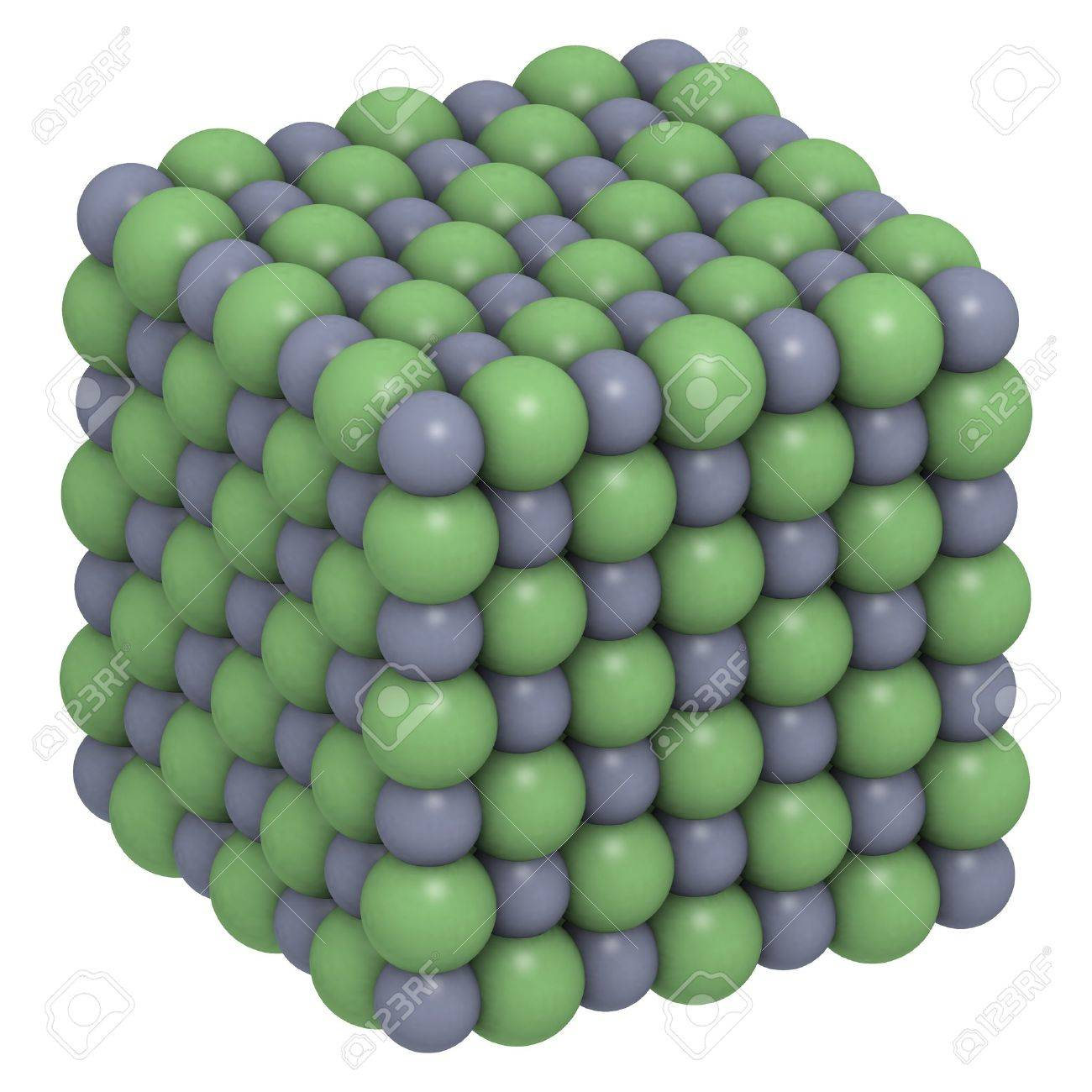 Sodium chloride (NaCl, table salt), crystal structure Stock Photo - 17236668