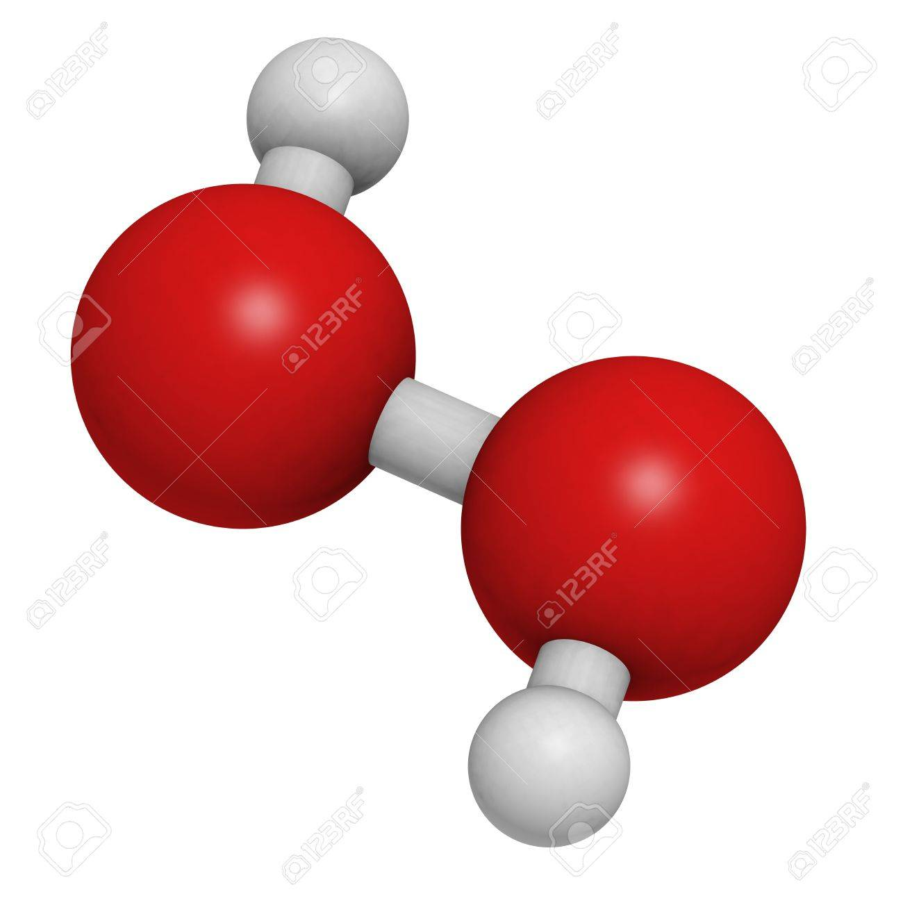 Hydrogen peroxide (H2O2) molecule, chemical structure. HOOH is an example of a reactive oxygen species (ROS). H2O2 solutions are often used in bleach and cleaning agents. Atoms are represented as spheres with conventional color coding: hydrogen (white), o Stock Photo - 18212797