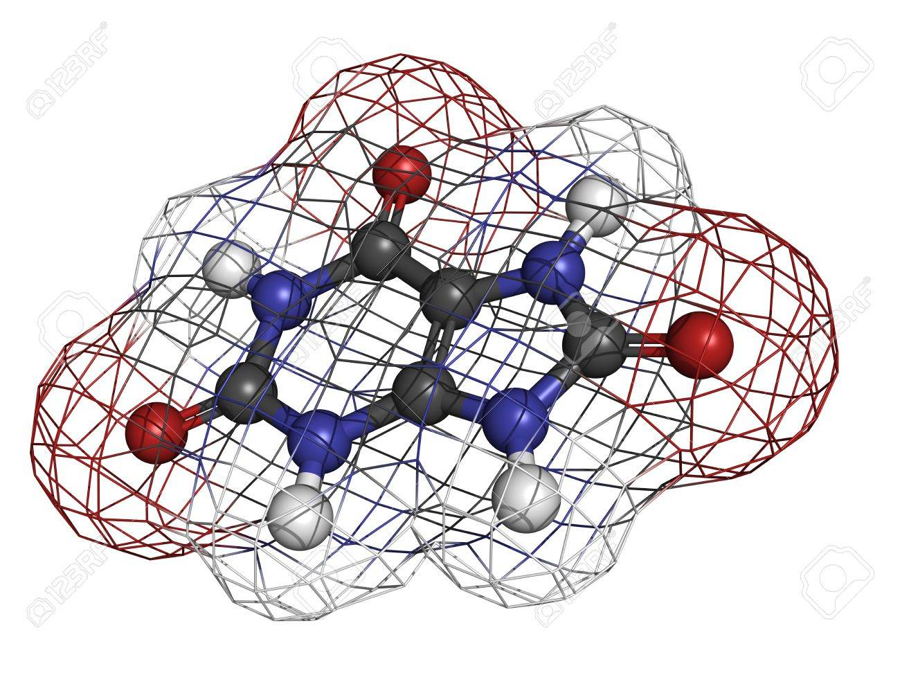Uric acid gout molecule, chemical structure. High blood levels of uric acid cause the disease gout. Atoms are represented as spheres with conventional color coding: hydrogen (white), carbon (grey), oxygen (red), nitrogen (blue) Stock Photo - 18212950