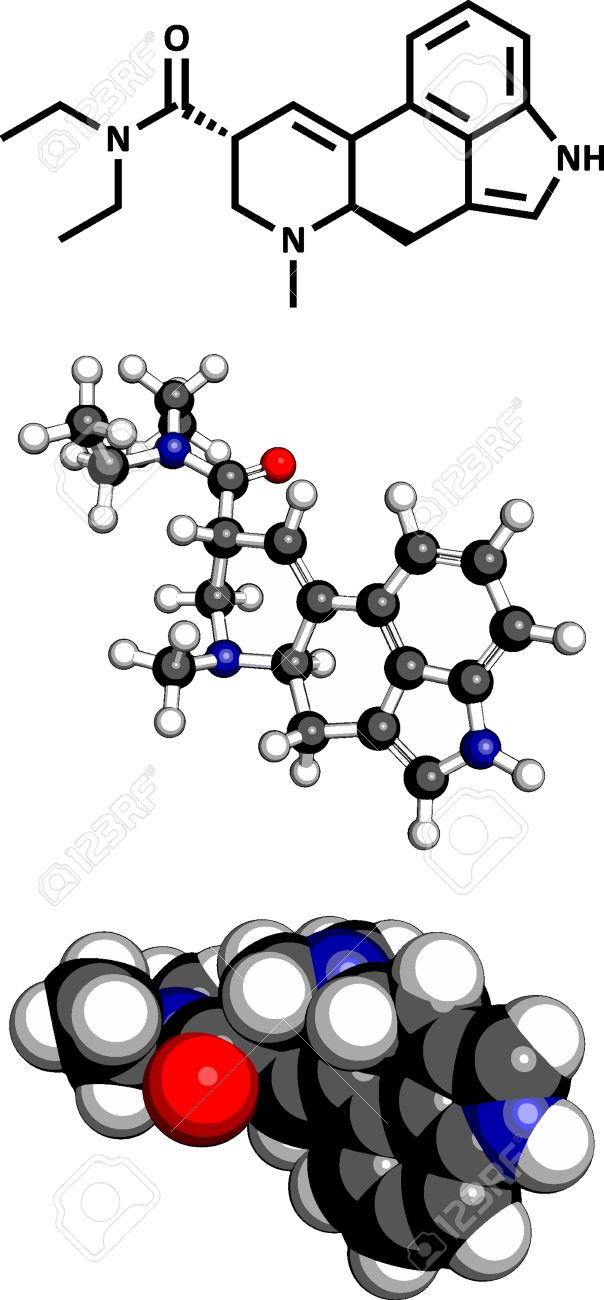 Lysergic acid diethylamide (LSD) hallucinogenic drug, molecular model. Three representations: 2D skeletal formula, 3D space-filling model and 3D ball-and-stick model. Stock Vector - 18409314