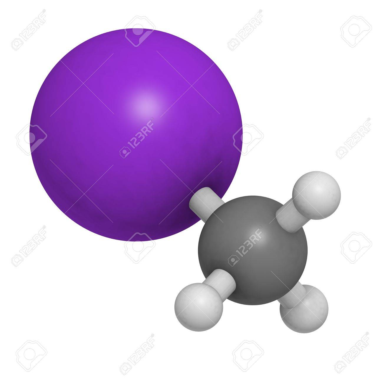 Iodomethane (methyliodide, MeI) pesticide, soil disinfectant and fumigant, molecular model. Atoms are represented as spheres with conventional color coding: hydrogen (white), carbon (grey), iodine (purple) Stock Photo - 18502412